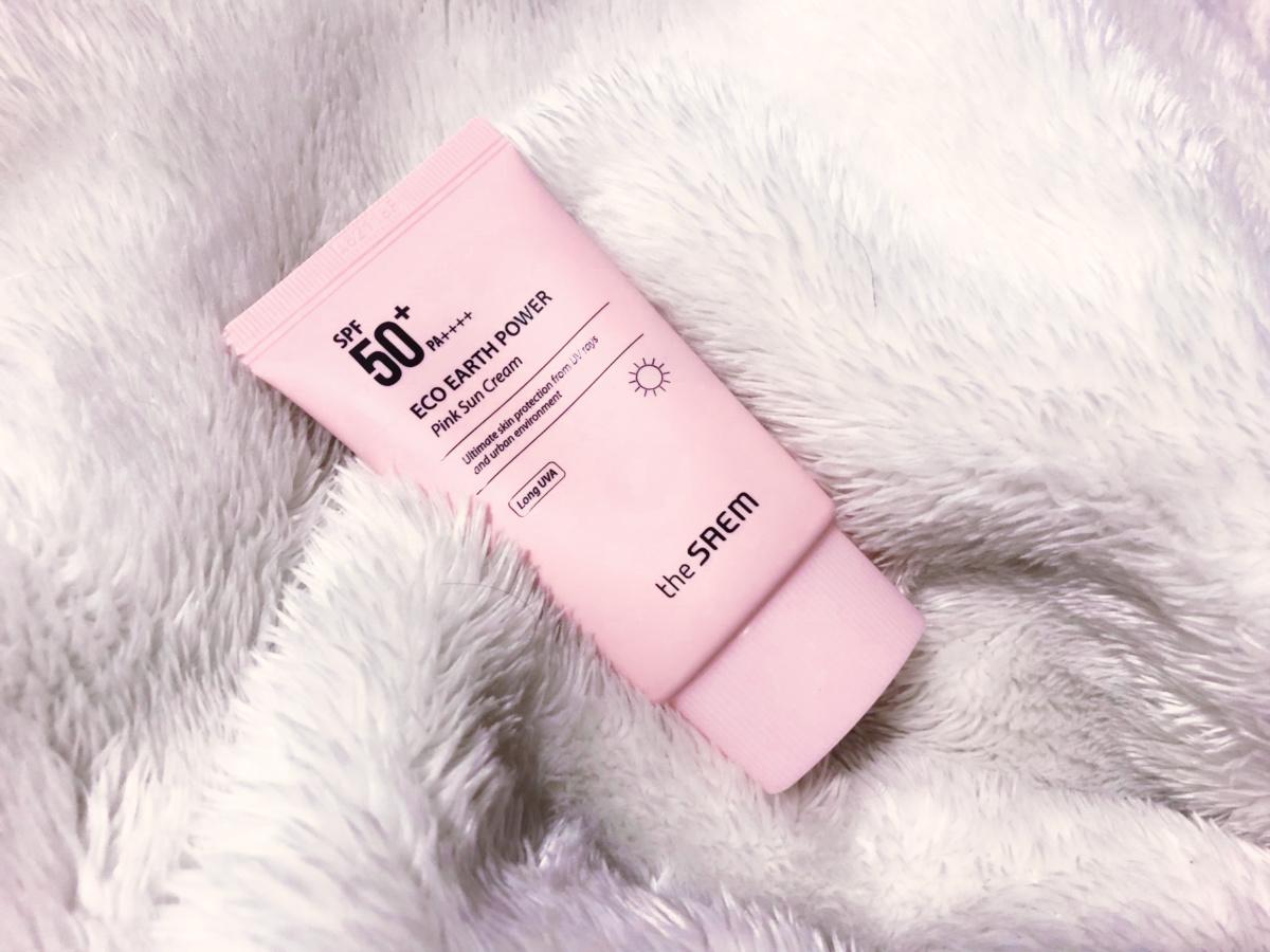 Kết quả hình ảnh cho Kem chống nắng The Saem Eco Earth Power Pink Sun Cream SPF50+/ PA++++